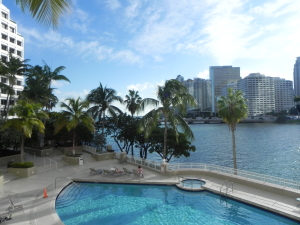 Stunning pool and view at The Courvoisier Courts on Brickell Key
